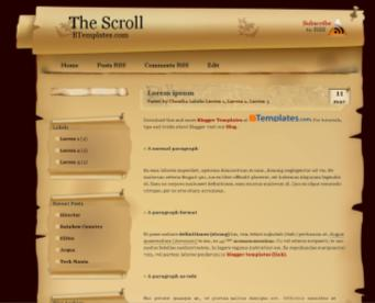 scroll parchment blogger theme