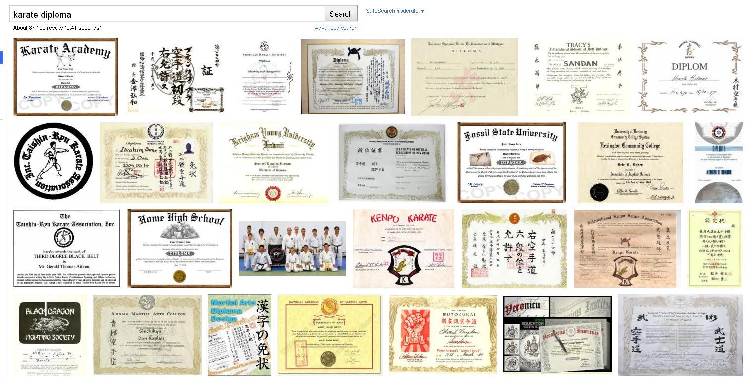 dan karate diploma