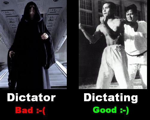 dictator and dictating