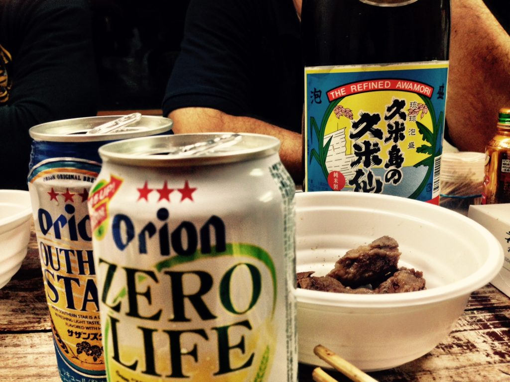 okinawa beer and meal